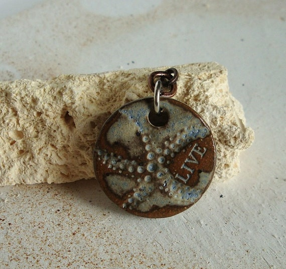 Live Desert Sky Blue rustic ceramic pendant made from stoneware clay, great with jeans
