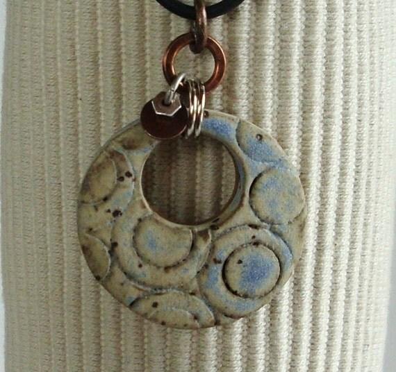Geo Circle Ceramic Pendant, Travertine Cream with Desert Sky Blue matte glazes, Clay pendant, handcarved design