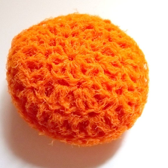 Bright Spring Orange pot Scrubber buddy, Great Hostess practical home gift Nylon Tulle, for nonstick pans / counters / dishes/ stovetops