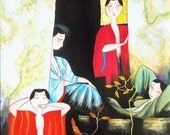 Parlor Backyard - Erotic Village Folk Painting 10x10 inches