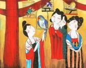 Parlor Bird Watch - Erotic Village Folk Painting 10x10 inches