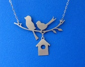 Two Birds and a Bird House Necklace