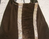 Shoulder bag genuine leather with textile leather and python print raffia