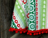 Size 5-7 Holiday Skirt \/ Girls Christmas Skirt with Red Pom Poms by Sweet Blossom Boutique