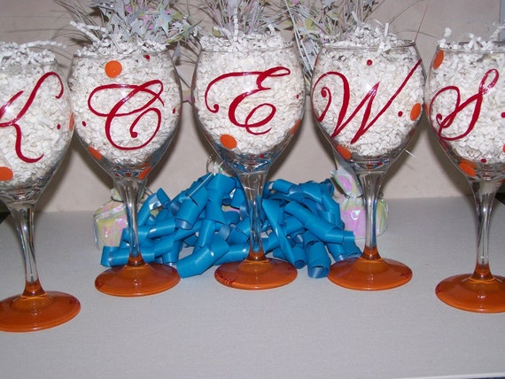 Initial Hand Painted Wine Glass Initial Swanky Dots
