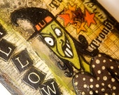 Toil and Trouble Halloween Mixed Media Art-on SALE