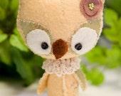 Baby Spring Owl wool mini plush Buttercup
