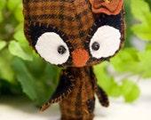 Baby Spring Owl wool mini plush Willow