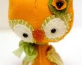 Baby Spring Owl wool mini plush Blossom