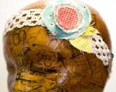 Tattered fabric flower Headband Child size