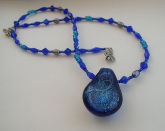 Swirling Blue Universe with Dichroic Glass Bead