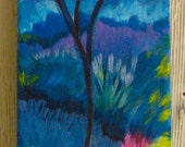"""Tree Landscape Painting  Small Format 4"""" x 12"""""""