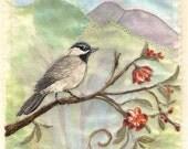 Bird Painting Fabric Collage Fiber Art