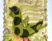 ACEO Fabric Collage Bird - Amy Butler Fabrics