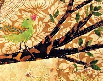 Fabric Quilt Art Collage, Bird in Tree - Framed or Unframed