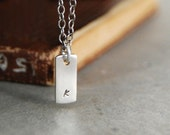 Itsy Bitsy Teeny Weeny  Modern Initial Tag Necklace - Personalized with Lowercase Letters