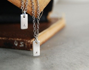 Itsy Bitsy Teeny Weeny Modern Initial Tag Layered Necklace - Lowercase letters- 2 tags personalized on 2 chains