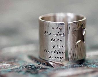 Men's Rock Star Ring with Custom Words or Lyrics