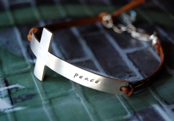 Handcrafted Leather Cross Peace Bracelet- Custom Personalized Word - for Men or Women