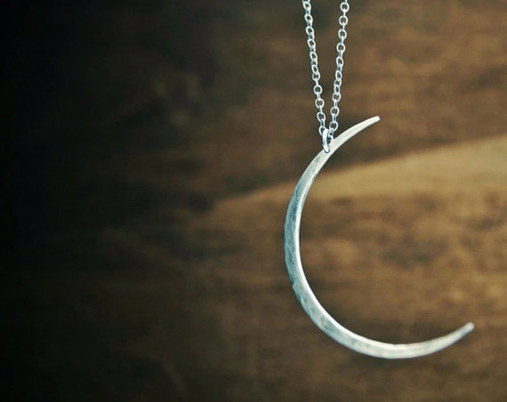 Seeing The Dark Side of the Moon Necklace- Large Hammered Modern Crescent Moon Necklace