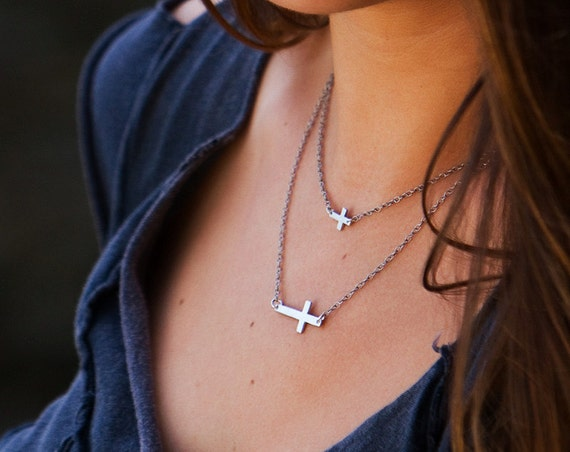 Itsy Bitsy Teeny Weeny Sideways Cross Necklace- Recycled Sterling Silver