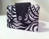 Mini Wallet Black and White Tattto with Polka Dot Lining,  Business Card Case, Credit Card Case, Free Shipping