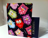Passport Cover in Sleepy Owls on Black for your travel identification, great gift