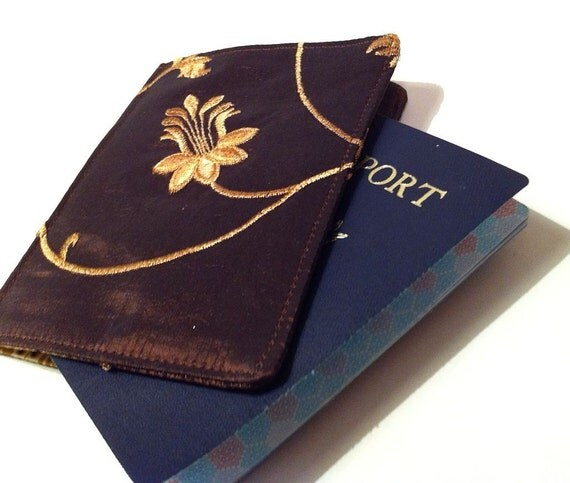 Passport Cover in Brown Silk with Gold Embroidered Vines, Ready to Ship