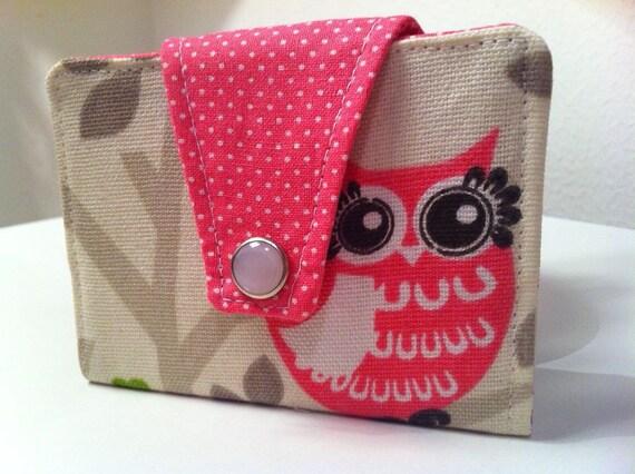 Pink Owl Pocket Wallet, Bifold Wallet, Business Card Case,