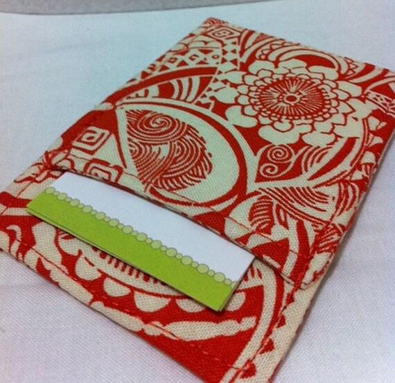 Business Card Holder in Orange Linocut Print, Great  Gift Card Holder, Wallet