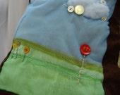 Button Landscape Art Pillow Cover