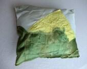 "Corn Mountain 4""x6"" applique embroidered vintage satins art pillow"