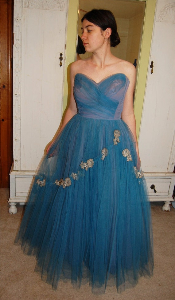 Vintage 50s Blue Silver Net Strapless Sweetheart Formal Dress Desginer Will Steinman - reserved for muffinkitty
