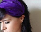 purple feather headband or hair clip - bohemian feather fascinator - women's hair accessory - feather headdress - boho style hair - SALLY