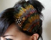 BROOKLYN - brown, iridescent green, and polka dot feather headband or hair clip - bohemian feather fascinator