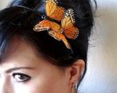 monarch butterflies headband - orange butterfly headband - bridal hair - bohemian hair accessory - whimsical woodland hair piece - MARISSA