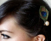 eye peacock feather hair clip - bohemian feather fascinator - peacock hair accessory - bohemian hair accessory - feather hair clip - AUDREY