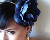 blue peony flower headband - floral hair piece - bohemian hair accessory - flower head piece - boho headband - FIONA