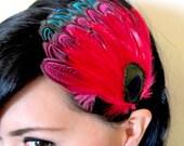 eye peacock feather headband - bohemian feather fascinator - women's hair accessory - bridesmaid hair accessory - women's gift - MARIAH