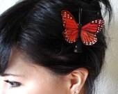 orange butterfly hair clip - butterfly hair accessories - whimsical hair piece - bohemian hair accessory - women's accessory - DESTINY