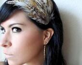 EVA - natural brown feather hair clip - bohemian feather fascinator