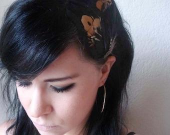 feather headband - feather hair clip - bohemian feather fascinator - feather hair piece - women's hair accessory - black feather - KAYLA
