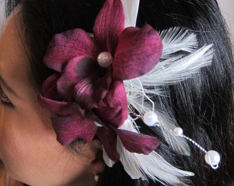 WENDOLYN - plum colored orchids, ivory feathers, russian netting and pearl accents bridal hair comb - bridal fascinator