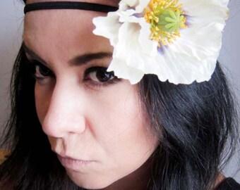 hippie flower headband - bohemian hair accessory - poppy flower headband - boho chic women's hair accessory - flower hairband - LEONA