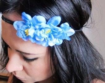 flower headband - flower crown - blue cherry blossom flower headband - bohemian hair accessory - hippie flower hair piece - PATTY