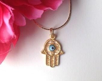 hamsa hand necklace - hamsa charm necklace in gold - bohemian chic jewelry accessory - hamsa jewelry - evil eye