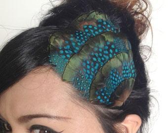 feather headband - feather fascinator - turquoise and iridescent green feather headband or hair clip - bohemian feather fascinator - AZALEA