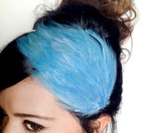 blue feather headband or hair clip - bohemian feather fascinator - feather hair piece - hair accessories for women - women gift - BONNIE