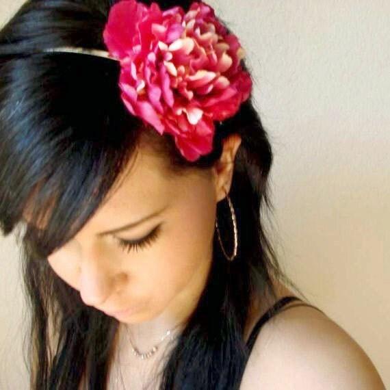 LESLEY - pink ombre flower headband - bohemian hair accessory