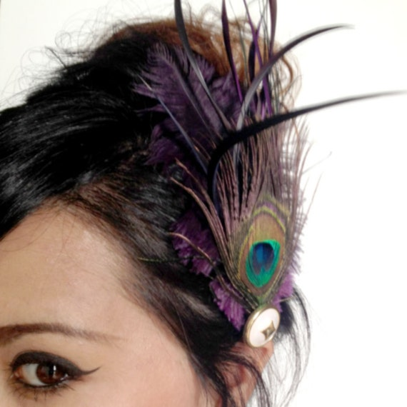 LOUISE - dark purple and peacock feather hair clip - bohemian feather fascinator